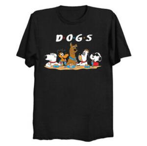 Dogs Squad Scooby-doo Snoopy Pluto Friends Parody Cartoon Black T-Shirt S-6XL