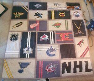 Pottery Barn PB Teen NHL Hockey Full/Queen Patchwork Comforter Quilt Blanket