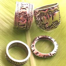 Indian designer belly dancer silver-plated elephant pattern ring set of 4
