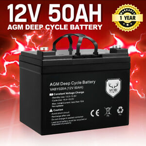 MOBI 12V 50AH AGM Battery Deep Cycle Mobility Scooter Golf Cart Camping
