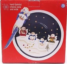 """Christmas Holiday Snowman Angels Cheese Plate Knife Set 9.25"""" Round Ceramic New"""