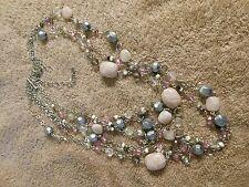 Lia Sophia Silver Tone 5 Strand Crystal/Stone Necklace