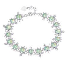 Tortoise Green Fire Opal Silver for Women Jewelry Gemstone Chain Bracelet OS658
