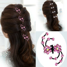 6PCS Women's Flower Hair Clips Barrette Pins Crystal Hairpin Wedding Accessories
