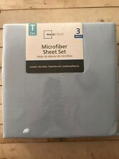 Mainstays Microfiber 3 Piece Sheet Set Twin Size Light Blue New Sealed