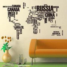 Black Alphabet World Map Wall Sticker Vinyl Mural Decal for Living Room Decor