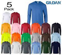 5 Pack Gildan Mens Ultra Cotton Adult Long Sleeve Plain T Shirt Cotton Tee Shirt