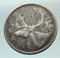 1962 CANADA United Kingdom Queen Elizabeth II CARIBOU Silver 25 Cent Coin i76535