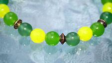 8mm Green Yellow Jade Wrist Mala Beads Healing Bracelet