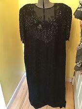 Vintage Black Beaded Women's Dress Scala Formal Fancy Cocktail 3x