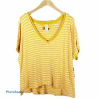 Free People Take Me Tee V Neck Striped Top NWT Size Small Yellow Pink T Shirt