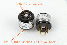 2pc gold plated 6CG7 6FQ7 instead ECC82 12AU7 tube converter adapter 6.3V heat