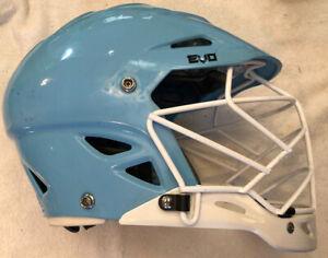 Warrior EVO Lacrosse Helmet Columbia Blue White Cage S/M Viconic Adjustable BOA