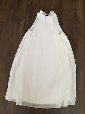 Topshop Size 8 White Pleated Chiffon Baby Doll Dress Midi Eve 60s high neck tie