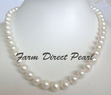 """18"""" Inch Genuine 9-10mm White Pearl Strand Necklace Cultured Freshwater"""