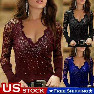 Women Lace V Neck Top Long Sleeve Hot Steampunk Ladies Party Casual Shirt Blouse
