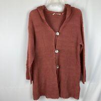 Soft Surroundings MP Medium Petite Sweater Lessie Button Cardigan Long Hooded