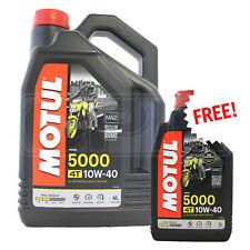 Motul 5000 10W-40 4T Motorcycle Engine Oil 10W40 4L + 1L FREE = 5 Litres 5L
