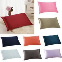 Solid Rectangle Cushion Cover Silk Throw Bed Pillow Case Pillowcase Home Decor