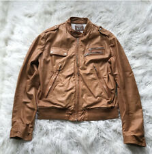 GUESS BY MARCIANO CARAMEL LAMB LEATHER JACKET