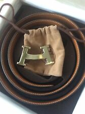 Hermes Belt With Silver Smile Buckle In Pale Blue And Tan Colour , Size 100