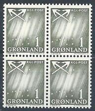 Greenland 1963 Sc# 48 Northern lights block 4 Mnh