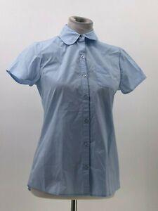 Justice girls school uniform button up shirt blue sz 16 NWOT