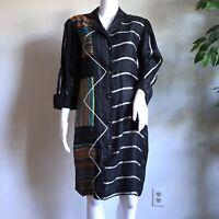Vintage Koos van den Akker 80s Shirt Dress Size S Patchwork Stripe Mixed Texture