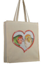 More details for lovebird bird themed cotton bag with gusset xtra space perfect gift