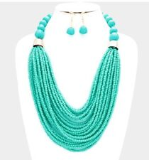 Turquoise Blue Multi Layered Strand Seed Bead Chunky Necklace Earrings Set