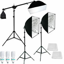 Lusana Studio Photography Video 3 Softbox Boom Stand Continuous Lighting Kit