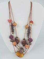 Illusion Chunky Beaded Necklace-Fall Colors Chico's Chunky Triple Strand Scarlet