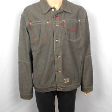 Mens Triple Five Soul NYC Dark Gray Black Red Accents Denim Jacket Size XL