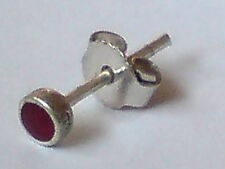 SINGLE STERLING SILVER & CARNELIAN SMALL ROUND 4mm STUD EARRING £3.50 NWT
