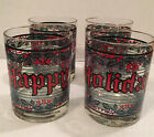 Houze Double Old Fashion Glasses Season's Greeting Stained Glass Look Set Of 4