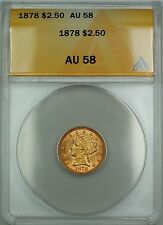 1878 $2.50 Liberty Quarter Eagle Gold Coin ANACS AU-58