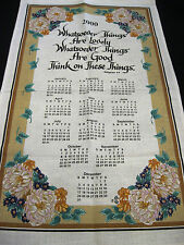 Calendar Towel 2000 Flowers and Bible Verse Scripture Collectible Unused