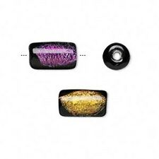9048 Dichroic Glass Beads Tube 13mm PK2 Purple/Gold *UK EBAY SHOP*