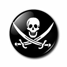 25mm Button Badge - Skull and crossed swords - Pirate