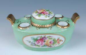 Antique French Porcelain Inkwell Hand Painted Paris Porcelain Inkstand Encrier