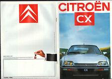 CITROEN Concessionnaire / CX / TRACT LIVRET Publicitaire 1987