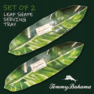 "SET OF 2 - New Tommy Bahama Green Banana Leaf Shape 16"" Melamine Serving Trays"