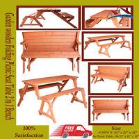FoxHunter Garden wooden Folding Picnic Seat Table Bench 2 in 1 Outdoor FE2233