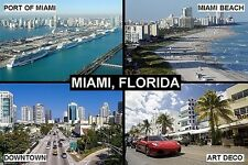 SOUVENIR FRIDGE MAGNET of MIAMI FLORIDA USA