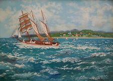 "NITA SLATER - ""Running Sea"" - Folk Art Oil on Panel - Framed - Canada - C. 1954"