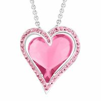 Crystaluxe Double Heart Pendant with Rose Swarovski Crystals in Sterling Silver