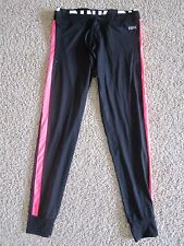 PINK by Victoria's Secret Black Neon Pink Logo Stretch Banded Pants NWOT XS