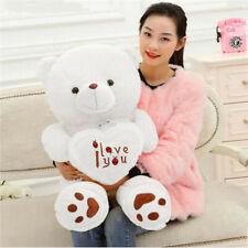 50cm White Large Giant Teddy Bear Plush dolls Stuffed toy Love Hold heart gift