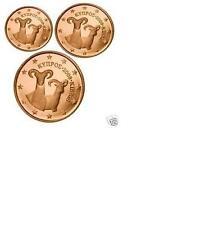 Pièces de 1,2,5cts euro de Chypre 2012.