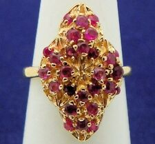 RUBY COCKTAIL RING SOLID 14 K GOLD 5.5 g SIZE 5.5